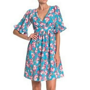 Betsey Johnson Floral Printed Bell Sleeve Dress 2